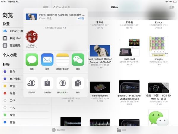iPad文件App共享图像到照片